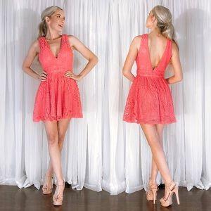 Daisy Peach Coral Flirty Plunge Skater Party Dress